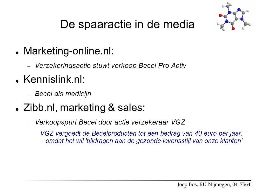 De spaaractie in de media Marketing-online.nl:  Verzekeringsactie stuwt verkoop Becel Pro Activ Kennislink.nl:  Becel als medicijn Zibb.nl, marketin