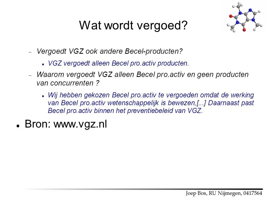 Wat wordt vergoed?  Vergoedt VGZ ook andere Becel-producten? VGZ vergoedt alleen Becel pro.activ producten.  Waarom vergoedt VGZ alleen Becel pro.ac