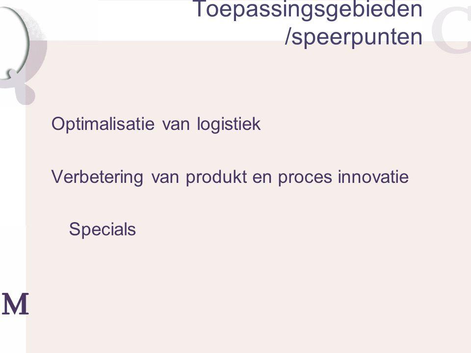 Toepassingsgebieden /speerpunten Optimalisatie van logistiek Verbetering van produkt en proces innovatie Specials