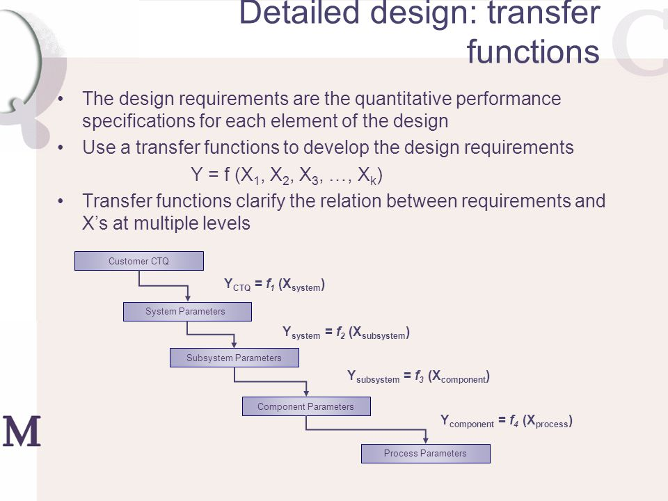Detailed design: transfer functions The design requirements are the quantitative performance specifications for each element of the design Use a trans