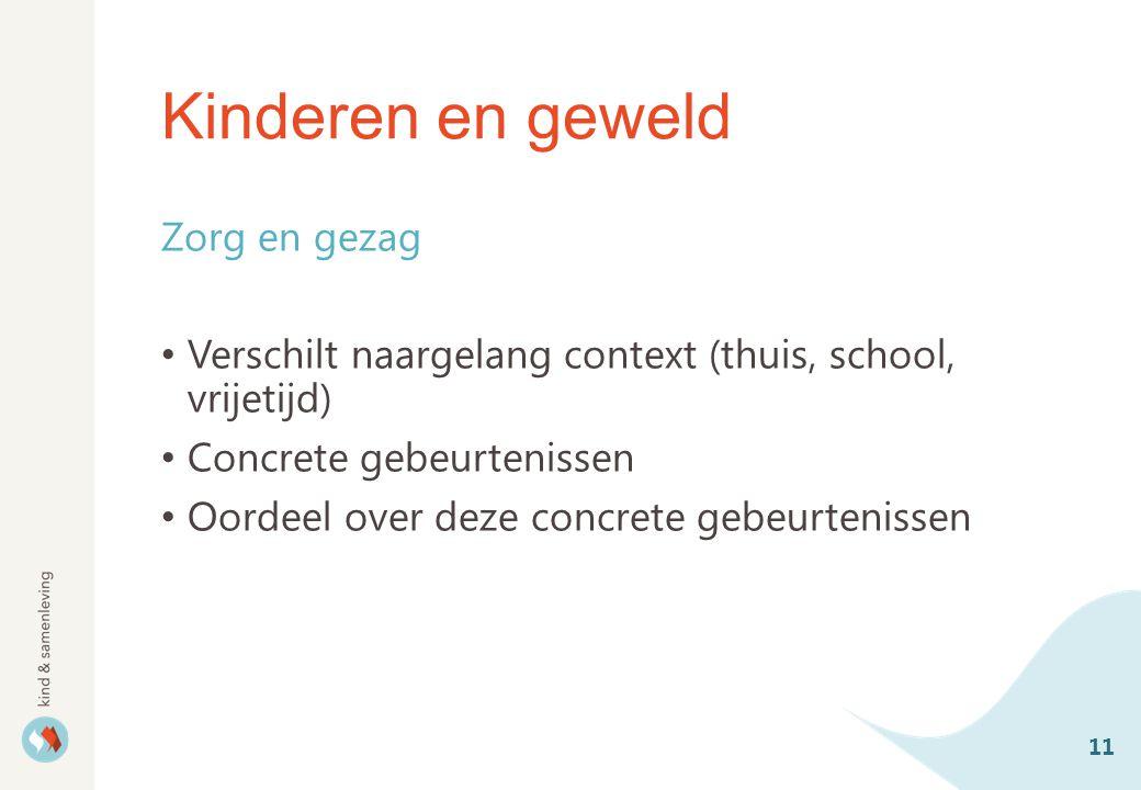 Kinderen en geweld Zorg en gezag Verschilt naargelang context (thuis, school, vrijetijd) Concrete gebeurtenissen Oordeel over deze concrete gebeurtenissen 11