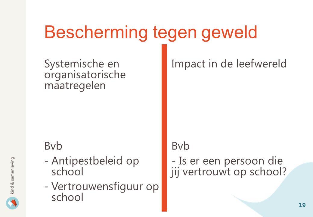 Bescherming tegen geweld Systemische en organisatorische maatregelen Bvb -Antipestbeleid op school -Vertrouwensfiguur op school Impact in de leefwereld Bvb - Is er een persoon die jij vertrouwt op school.