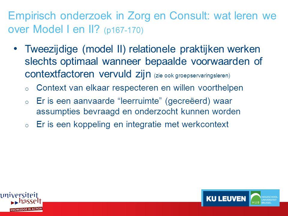 Empirisch onderzoek in Zorg en Consult: wat leren we over Model I en II.