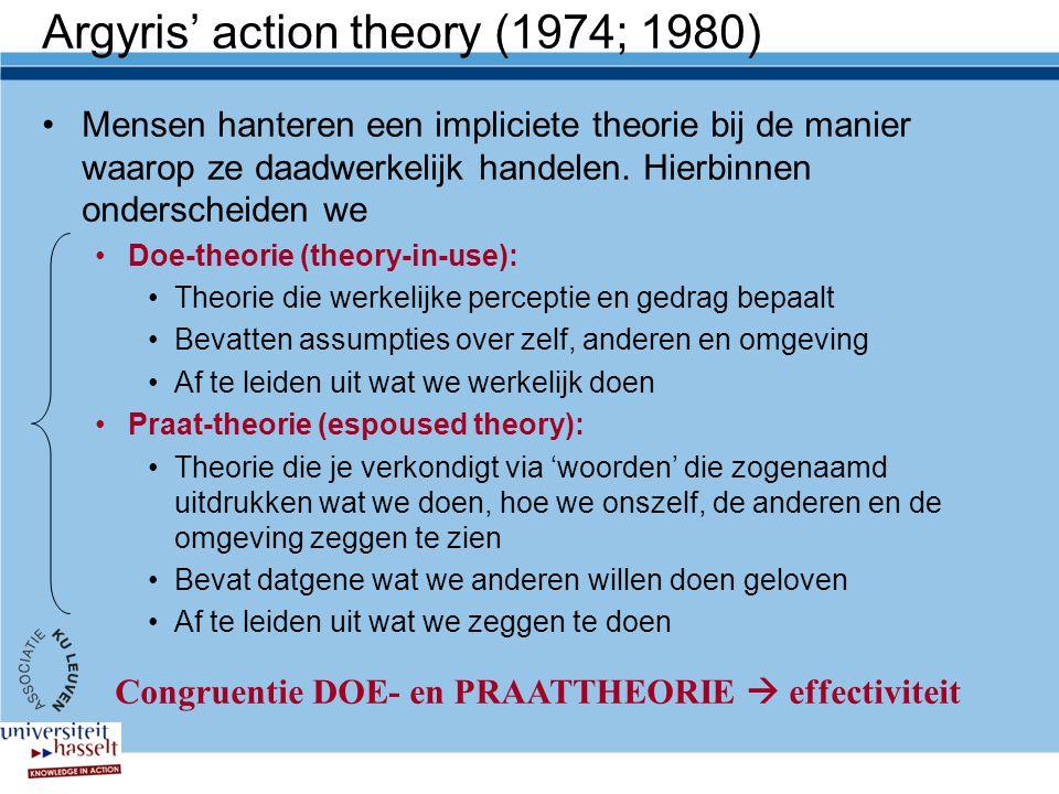 Argyris' action theory (1974; 1980) Mensen hanteren een impliciete theorie bij de manier waarop ze daadwerkelijk handelen.