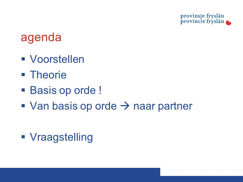 agenda  Voorstellen  Theorie  Basis op orde !  Van basis op orde  naar partner  Vraagstelling