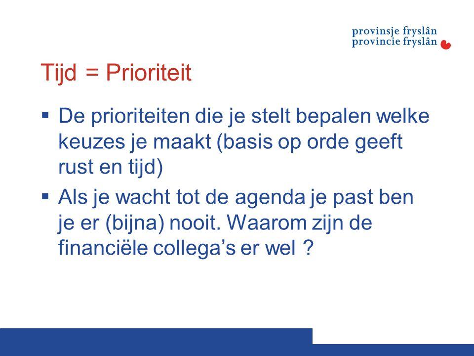 Tijd = Prioriteit  De prioriteiten die je stelt bepalen welke keuzes je maakt (basis op orde geeft rust en tijd)  Als je wacht tot de agenda je past