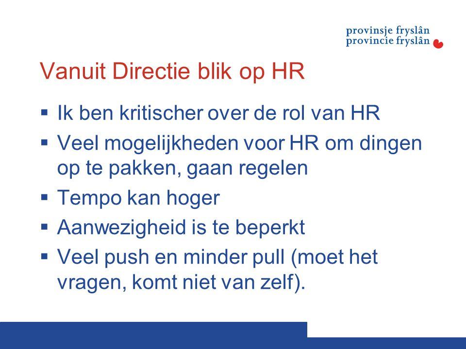 Vanuit Directie blik op HR  Ik ben kritischer over de rol van HR  Veel mogelijkheden voor HR om dingen op te pakken, gaan regelen  Tempo kan hoger
