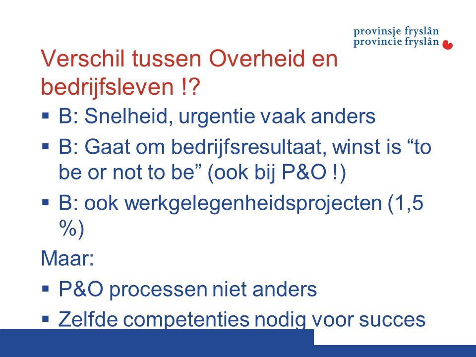 """Verschil tussen Overheid en bedrijfsleven !?  B: Snelheid, urgentie vaak anders  B: Gaat om bedrijfsresultaat, winst is """"to be or not to be"""" (ook bi"""