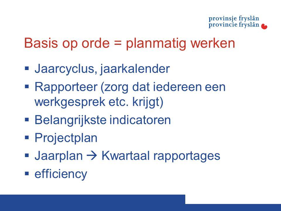Basis op orde = planmatig werken  Jaarcyclus, jaarkalender  Rapporteer (zorg dat iedereen een werkgesprek etc. krijgt)  Belangrijkste indicatoren 