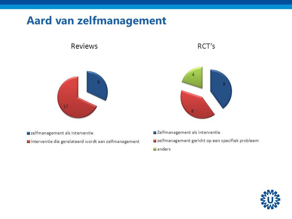 Aard van zelfmanagement RCT's