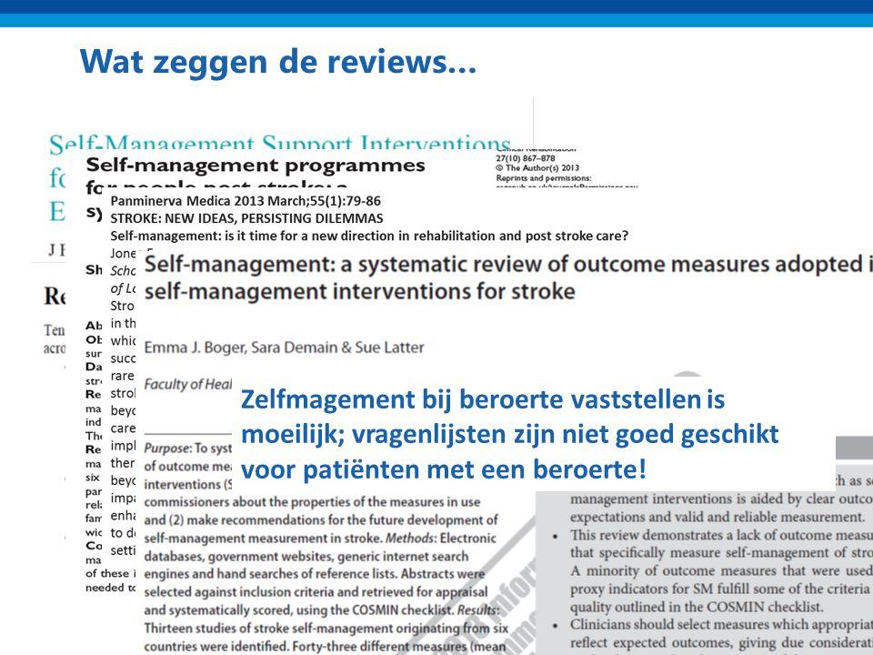 Wat zeggen de reviews… Klein maar significant effect na 6 maanden op: Gezondheidsuitkomsten Gezondheidsgedrag Self-efficacy Zorggebruik Positief effec