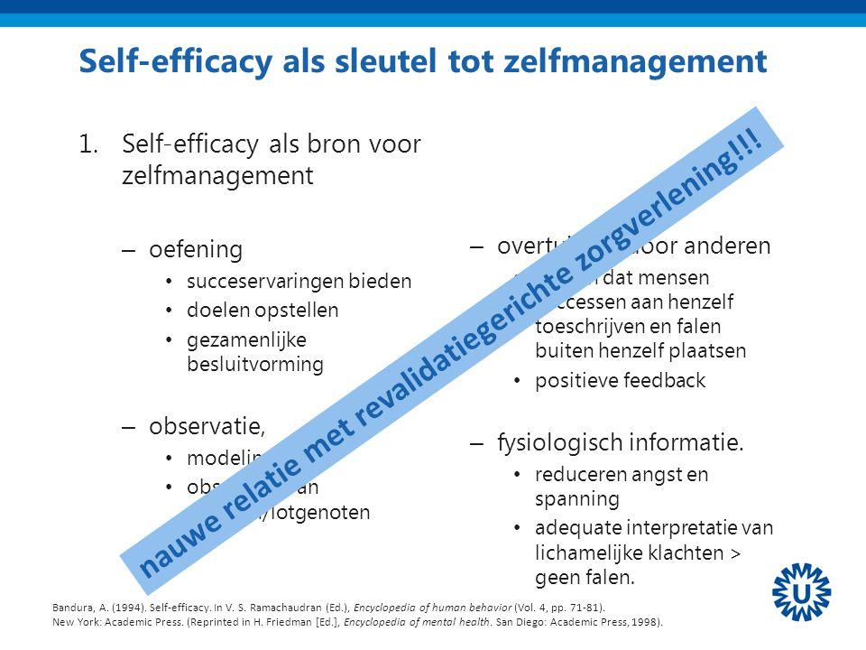 Self-efficacy als sleutel tot zelfmanagement 1.Self-efficacy als bron voor zelfmanagement – oefening succeservaringen bieden doelen opstellen gezamenl