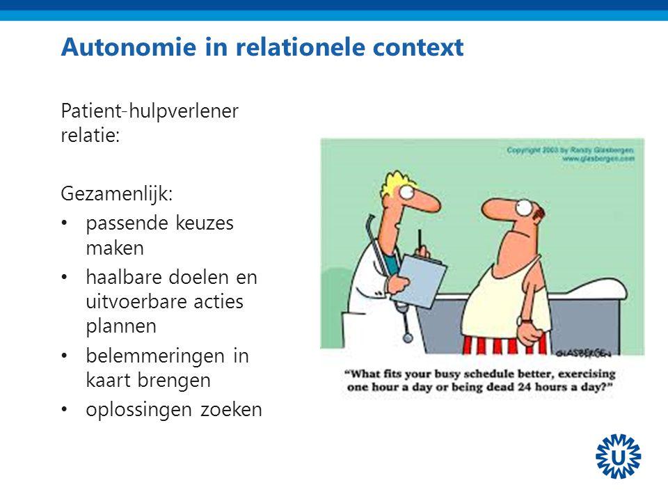 Autonomie in relationele context Patient-hulpverlener relatie: Gezamenlijk: passende keuzes maken haalbare doelen en uitvoerbare acties plannen belemm