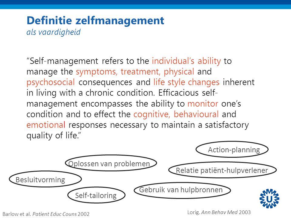 Zelfmanagement ….