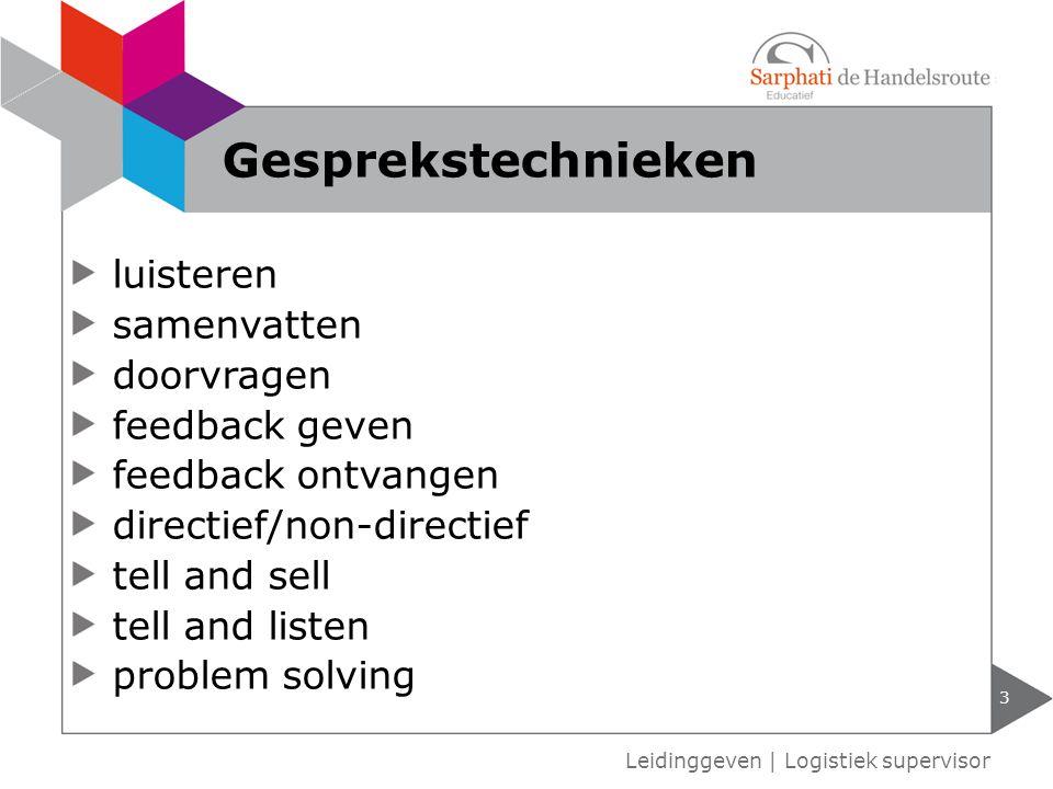 luisteren samenvatten doorvragen feedback geven feedback ontvangen directief/non-directief tell and sell tell and listen problem solving 3 Leidinggeve