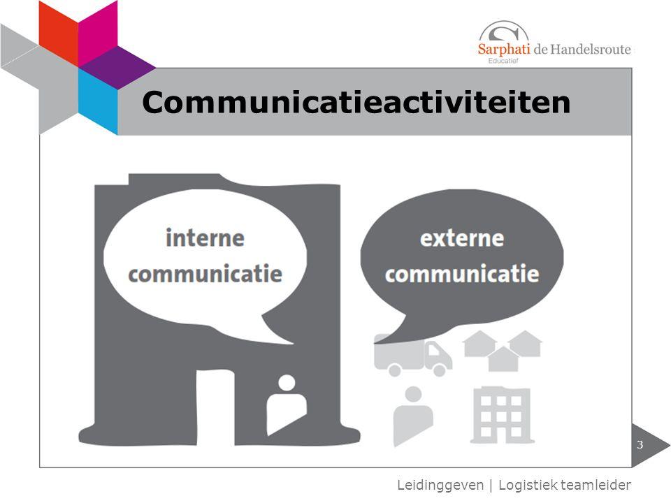 verbale en non-verbale communicatie communicatie met en zonder interactie formele en informele communicatie eenzijdige of tweezijdige communicatie verticale of horizontale communicatie 4 Leidinggeven   Logistiek teamleider Vormen van communicatie