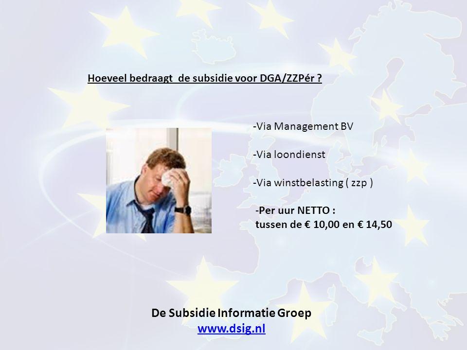 De Subsidie Informatie Groep www.dsig.nl www.dsig.nl Hoeveel bedraagt de subsidie voor DGA/ZZPér ? -Via Management BV -Via loondienst -Via winstbelast