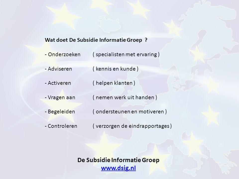 De Subsidie Informatie Groep www.dsig.nl www.dsig.nl Wat doet De Subsidie Informatie Groep ? - Onderzoeken( specialisten met ervaring ) - Adviseren (