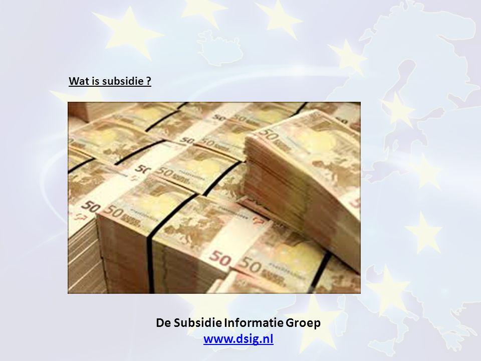 De Subsidie Informatie Groep www.dsig.nl www.dsig.nl Waarom subsidies ?
