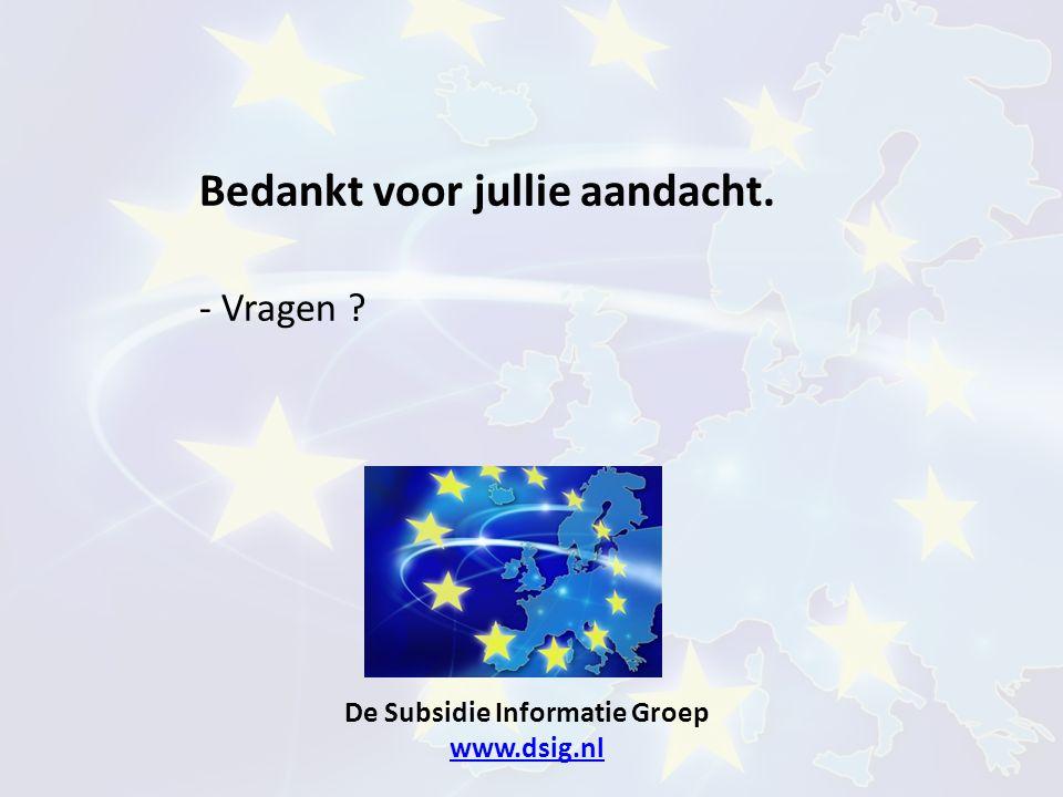 De Subsidie Informatie Groep www.dsig.nl www.dsig.nl Bedankt voor jullie aandacht. - Vragen ?