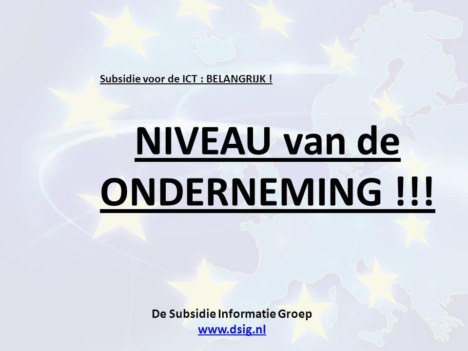 De Subsidie Informatie Groep www.dsig.nl www.dsig.nl Subsidie voor de ICT : BELANGRIJK ! NIVEAU van de ONDERNEMING !!!