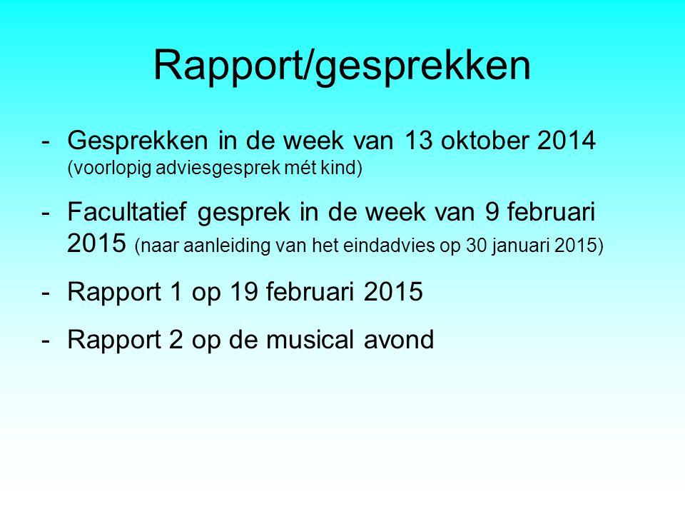 Rapport/gesprekken -Gesprekken in de week van 13 oktober 2014 (voorlopig adviesgesprek mét kind) -Facultatief gesprek in de week van 9 februari 2015 (