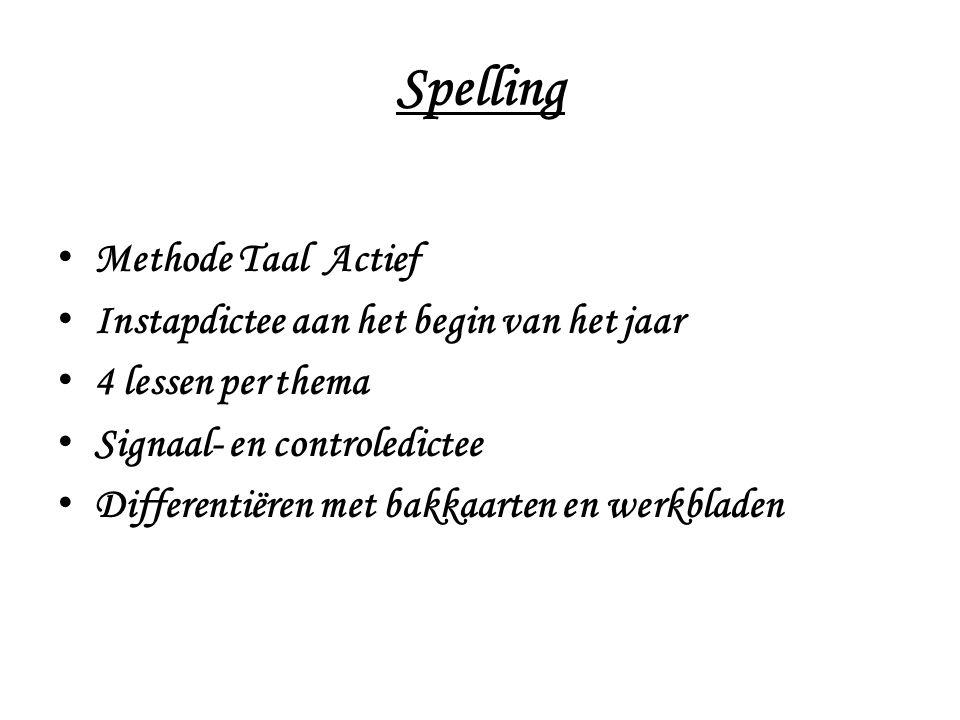 Spelling Methode Taal Actief Instapdictee aan het begin van het jaar 4 lessen per thema Signaal- en controledictee Differentiëren met bakkaarten en we