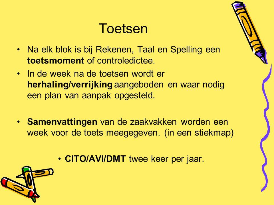 Toetsen Na elk blok is bij Rekenen, Taal en Spelling een toetsmoment of controledictee. In de week na de toetsen wordt er herhaling/verrijking aangebo