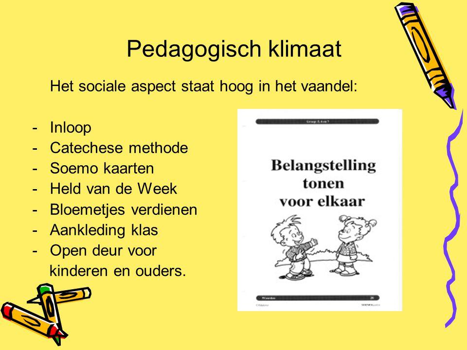Pedagogisch klimaat Het sociale aspect staat hoog in het vaandel: -Inloop -Catechese methode -Soemo kaarten -Held van de Week -Bloemetjes verdienen -A