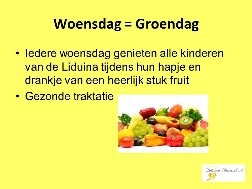 Woensdag = Groendag Iedere woensdag genieten alle kinderen van de Liduina tijdens hun hapje en drankje van een heerlijk stuk fruit Gezonde traktatie