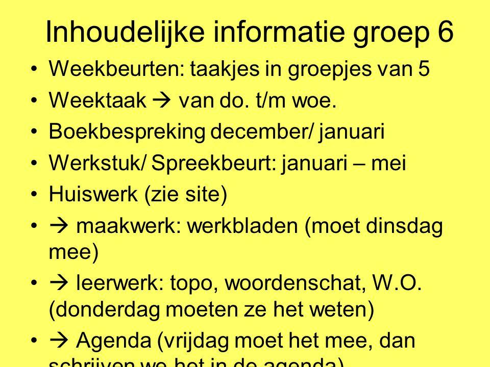 Inhoudelijke informatie groep 6 Weekbeurten: taakjes in groepjes van 5 Weektaak  van do. t/m woe. Boekbespreking december/ januari Werkstuk/ Spreekbe
