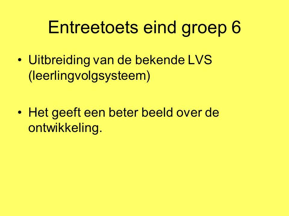 Entreetoets eind groep 6 Uitbreiding van de bekende LVS (leerlingvolgsysteem) Het geeft een beter beeld over de ontwikkeling.