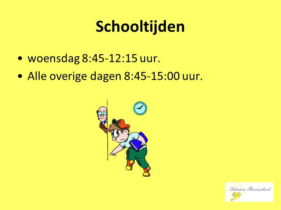 Schooltijden woensdag 8:45-12:15 uur. Alle overige dagen 8:45-15:00 uur.
