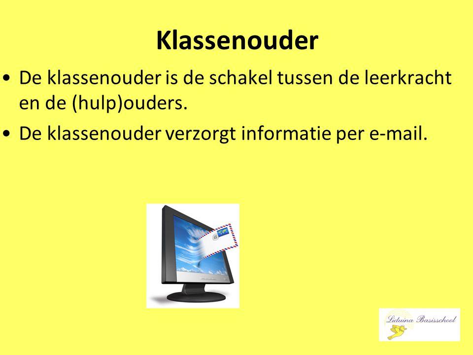 Klassenouder De klassenouder is de schakel tussen de leerkracht en de (hulp)ouders. De klassenouder verzorgt informatie per e-mail.