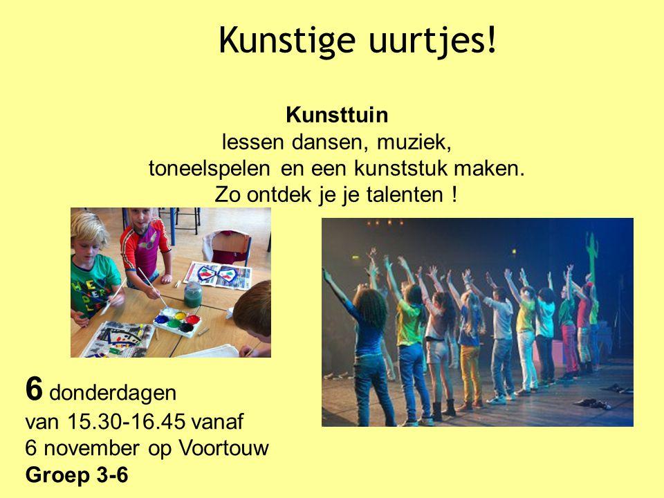Kunstige uurtjes! Kunsttuin lessen dansen, muziek, toneelspelen en een kunststuk maken. Zo ontdek je je talenten ! 6 donderdagen van 15.30-16.45 vanaf
