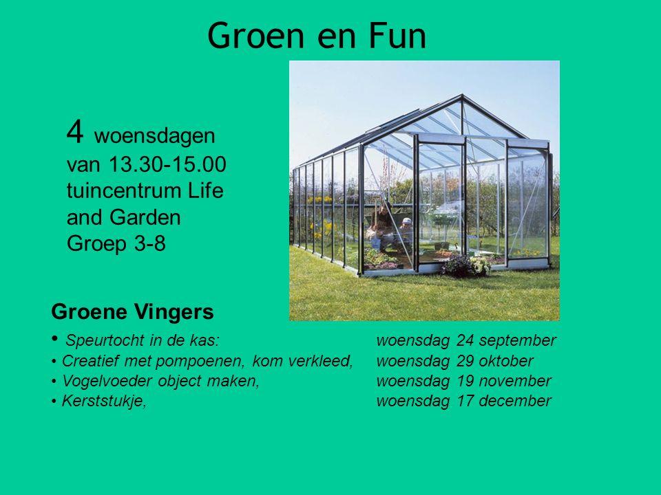 Groen en Fun Groene Vingers Speurtocht in de kas: woensdag 24 september Creatief met pompoenen, kom verkleed,woensdag 29 oktober Vogelvoeder object ma