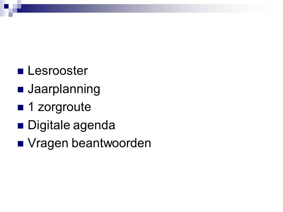 Lesrooster Jaarplanning 1 zorgroute Digitale agenda Vragen beantwoorden