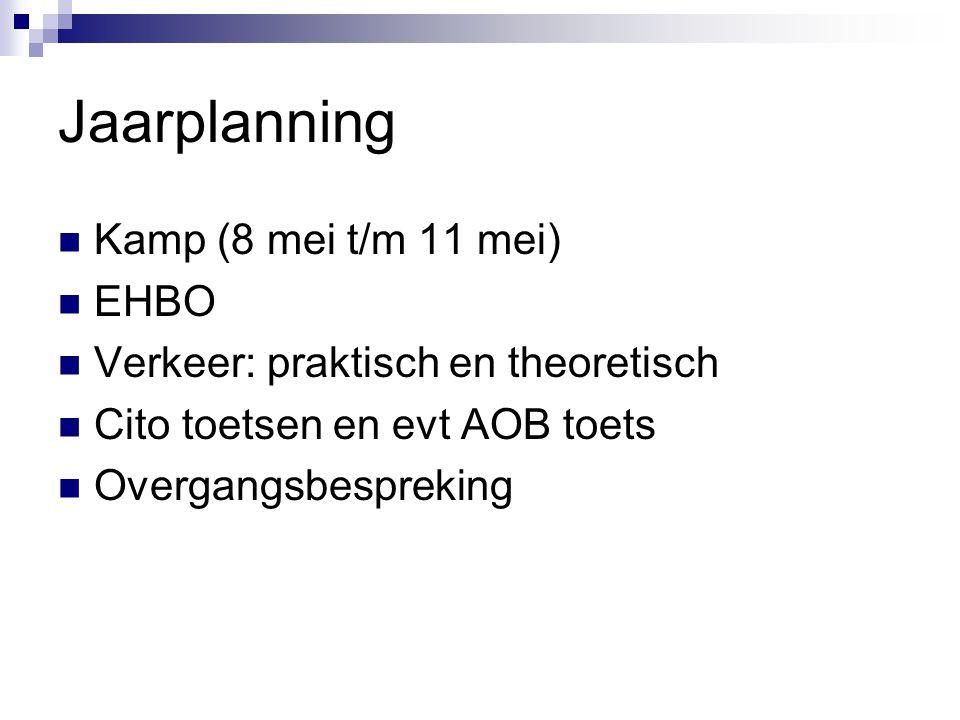 Jaarplanning Kamp (8 mei t/m 11 mei) EHBO Verkeer: praktisch en theoretisch Cito toetsen en evt AOB toets Overgangsbespreking
