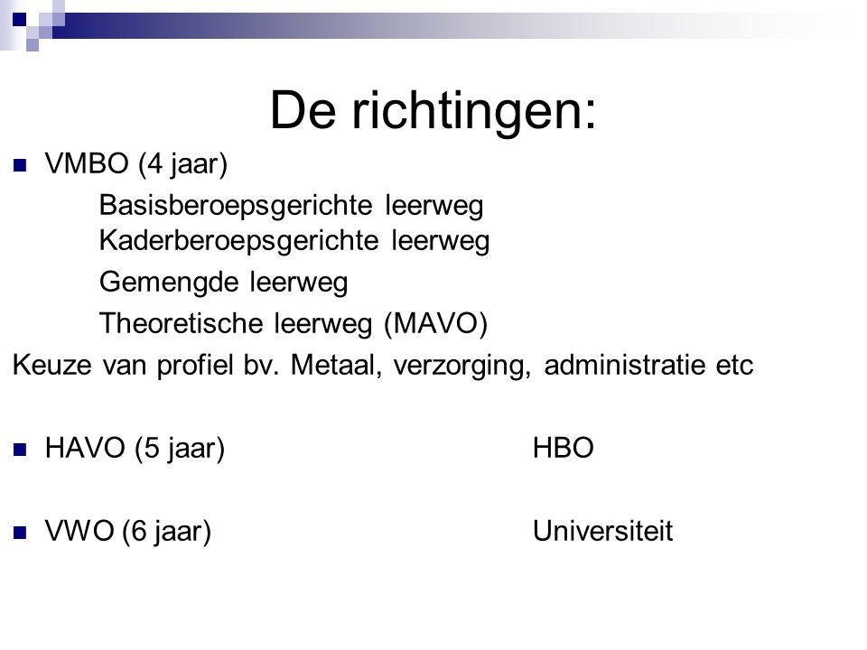 De richtingen: VMBO (4 jaar) Basisberoepsgerichte leerweg Kaderberoepsgerichte leerweg Gemengde leerweg Theoretische leerweg (MAVO) Keuze van profiel bv.
