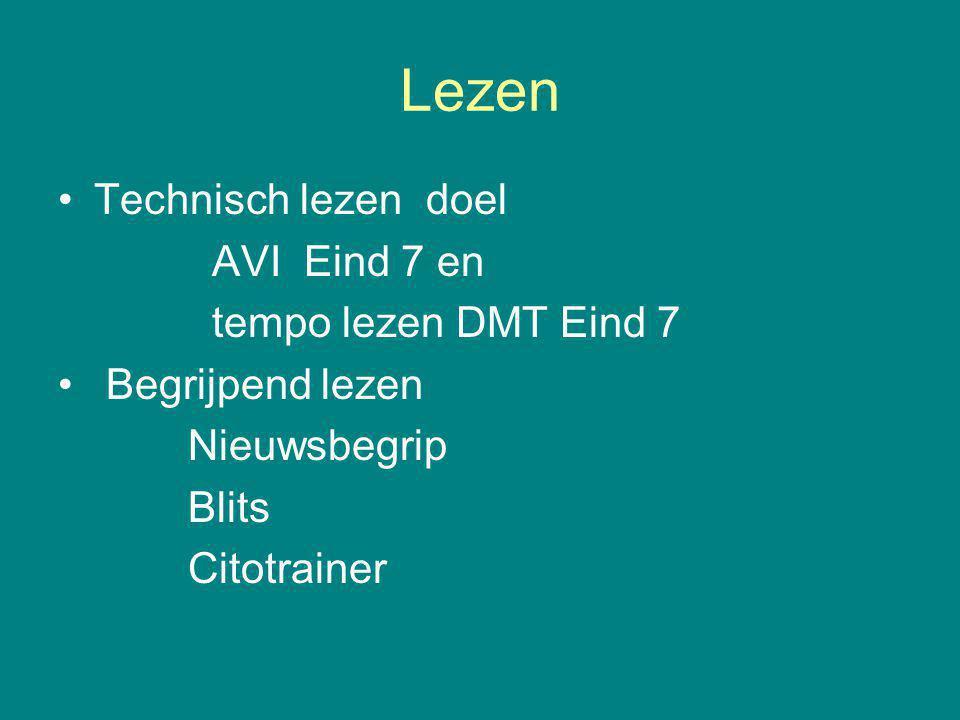 Lezen Technisch lezen doel AVI Eind 7 en tempo lezen DMT Eind 7 Begrijpend lezen Nieuwsbegrip Blits Citotrainer