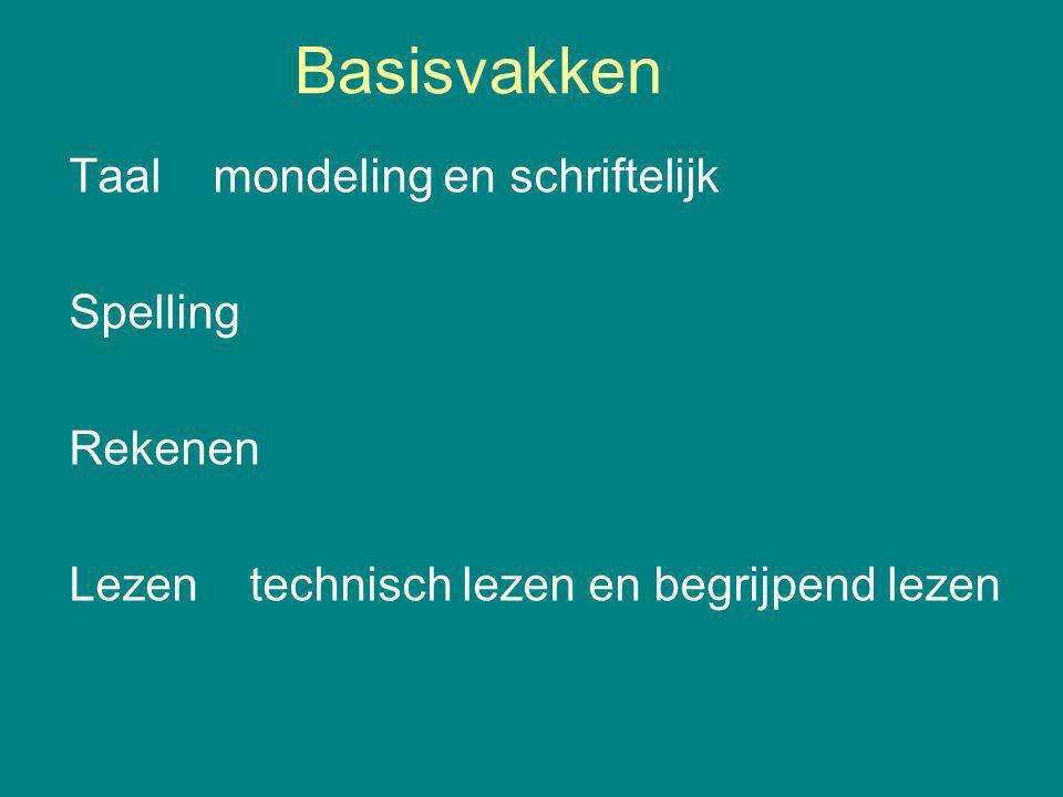 Basisvakken Taal mondeling en schriftelijk Spelling Rekenen Lezen technisch lezen en begrijpend lezen