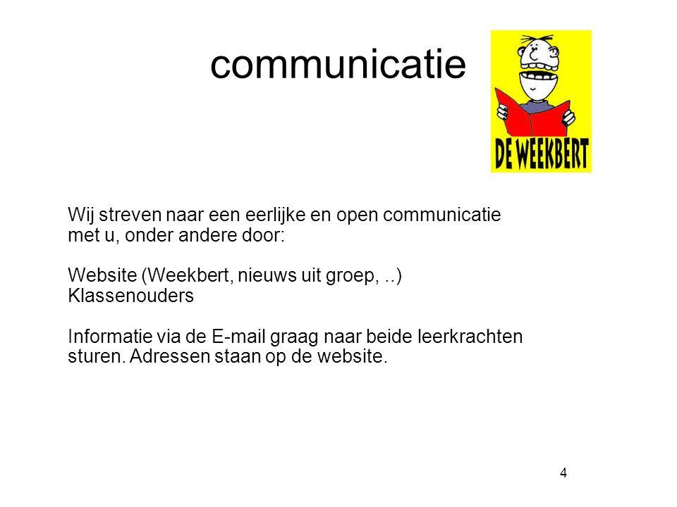 communicatie 4 Wij streven naar een eerlijke en open communicatie met u, onder andere door: Website (Weekbert, nieuws uit groep,..) Klassenouders Informatie via de E-mail graag naar beide leerkrachten sturen.