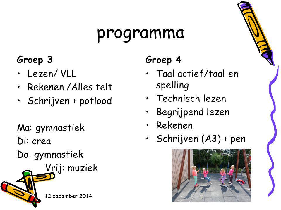 programma Groep 3 Lezen/ VLL Rekenen /Alles telt Schrijven + potlood Ma: gymnastiek Di: crea Do: gymnastiek Vrij: muziek Groep 4 Taal actief/taal en s