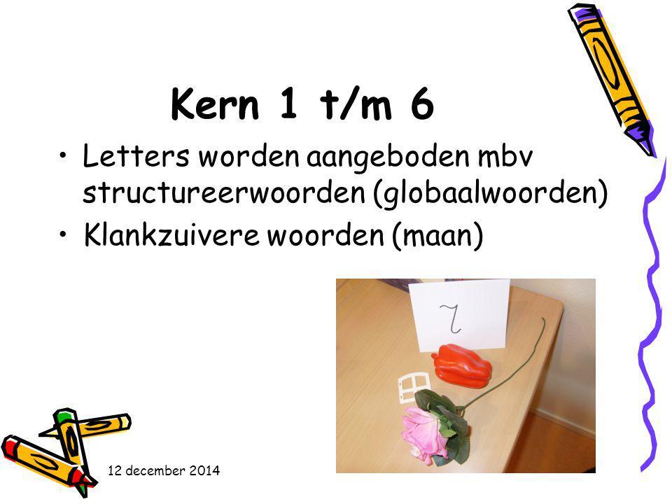 Kern 1 t/m 6 Letters worden aangeboden mbv structureerwoorden (globaalwoorden) Klankzuivere woorden (maan) 12 december 2014