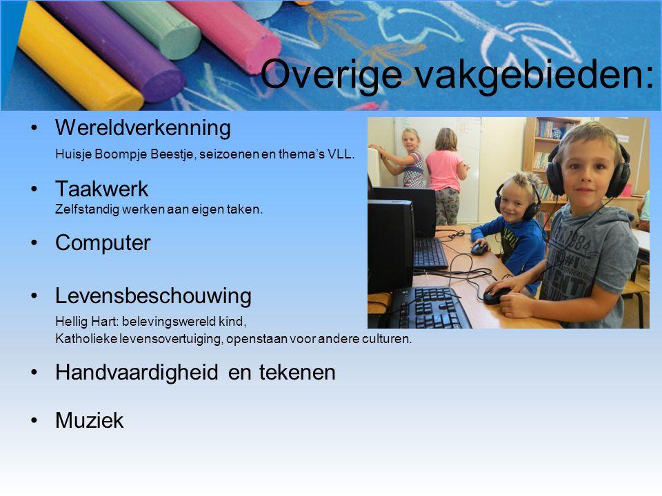Overige vakgebieden: Wereldverkenning Huisje Boompje Beestje, seizoenen en thema's VLL. Taakwerk Zelfstandig werken aan eigen taken. Computer Levensbe