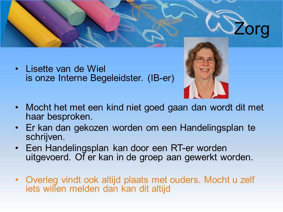 Zorg Lisette van de Wiel is onze Interne Begeleidster. (IB-er) Mocht het met een kind niet goed gaan dan wordt dit met haar besproken. Er kan dan geko
