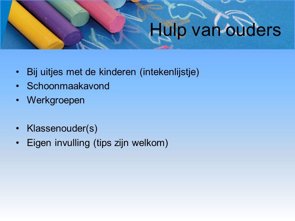 Hulp van ouders Bij uitjes met de kinderen (intekenlijstje) Schoonmaakavond Werkgroepen Klassenouder(s) Eigen invulling (tips zijn welkom)
