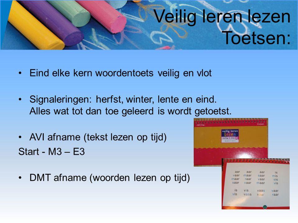 Veilig leren lezen Toetsen: Eind elke kern woordentoets veilig en vlot Signaleringen: herfst, winter, lente en eind. Alles wat tot dan toe geleerd is