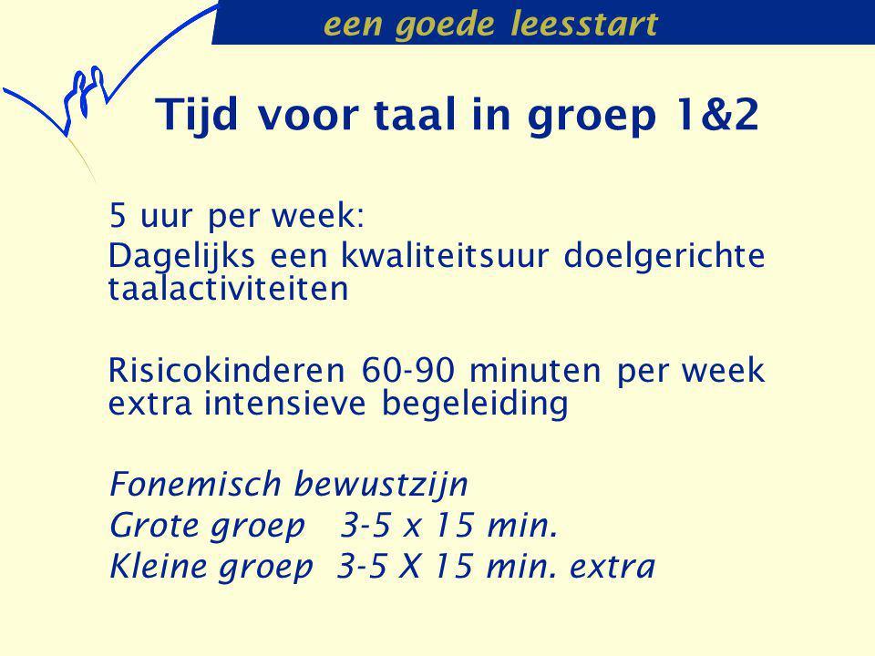een goede leesstart Tijd voor taal in groep 1&2 5 uur per week: Dagelijks een kwaliteitsuur doelgerichte taalactiviteiten Risicokinderen 60-90 minuten