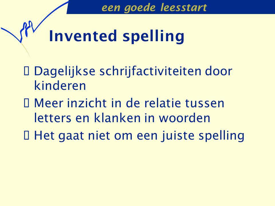 een goede leesstart Invented spelling  Dagelijkse schrijfactiviteiten door kinderen  Meer inzicht in de relatie tussen letters en klanken in woorden